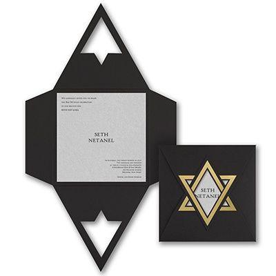 Shield Of David Invitations Invitation Card Design Silver Invitation