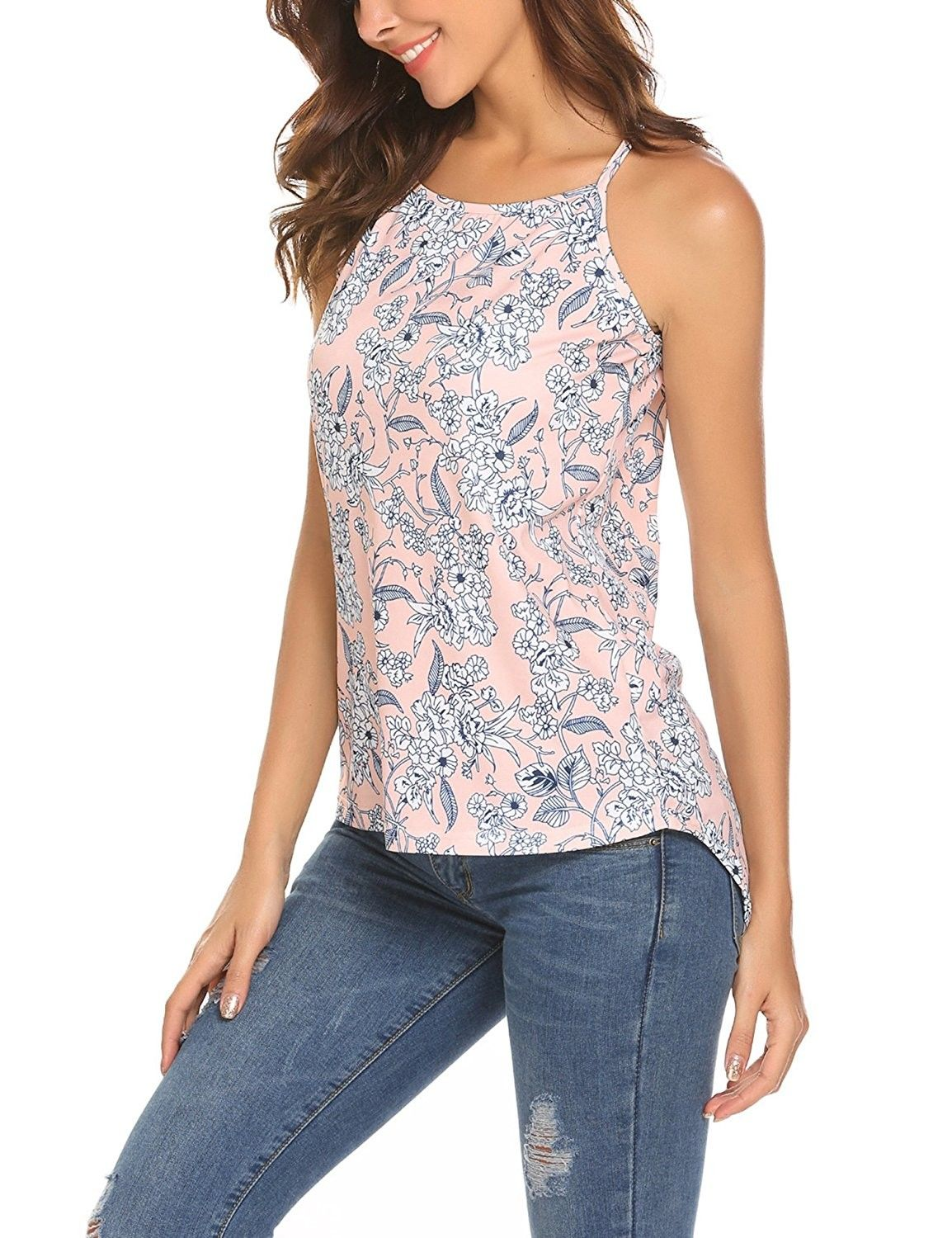 Women Boho Halter Neck Sleeveless Floral Print Shirt Tops Tee Tanks Camis -  Pink - CU189TMYKLZ   Womens clothing tops, Clothes for women, Tank top  fashion