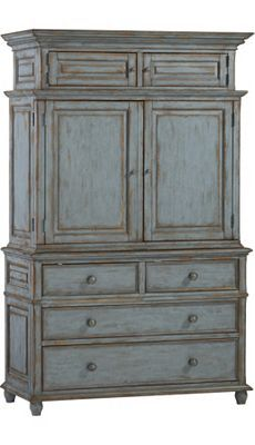 Aqua Works With A Rustic Space Too Check Out Our Willowwood Road Sugarberry Armoire In A Cool Blue Distressed Finish