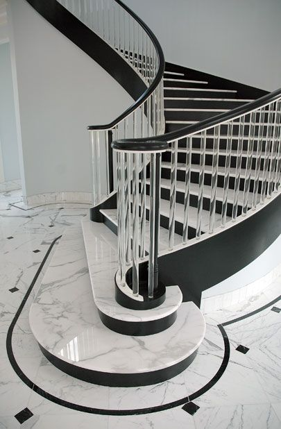 Best Black And White Stairs Marble Stairs Modern Staircase 640 x 480