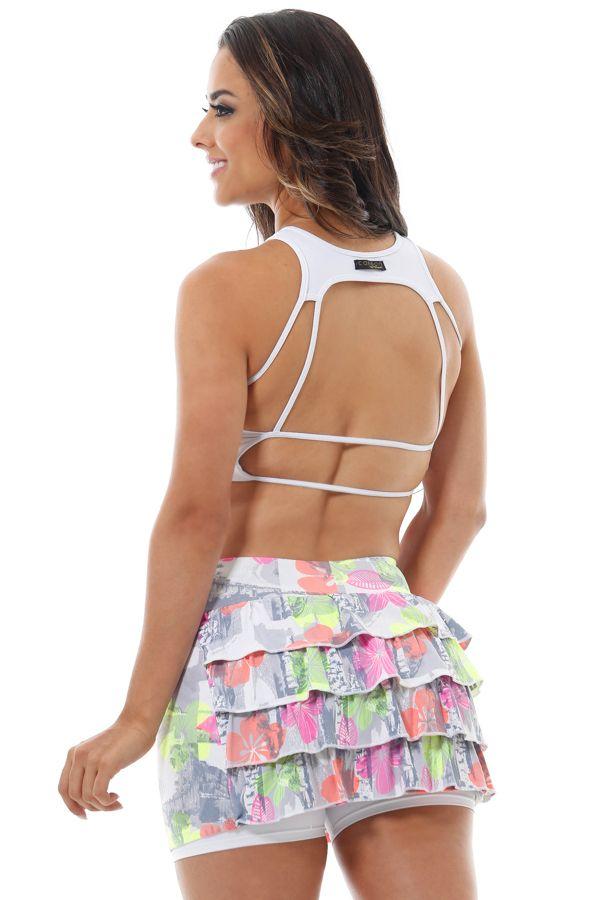 top-branco-e-shorts-saia-babado-hibisco-canoan-sm0735bc-cm0317hb Dani Banani Moda Fitness