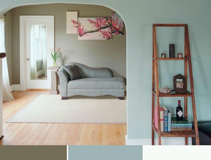 Wohnzimmer in Blau und Grün streichen, Laminatboden in Eichenholz ...
