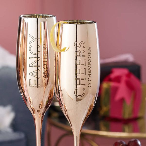 Gift Boxed Rose Gold Champagne Flute Set Christmas Gift Ideas Christmas Decor Christm Gold Champagne Flutes Gold Champagne Glasses Champagne Flute Set