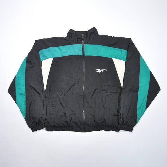 Vintage 90s Reebok Windbreaker Reebok Shell Jacket Retro Reebok Old School Hip Hop Jacket Reebok Jogger Ja In 2020 Vintage Outfits Hipster Outfits Running Jacket