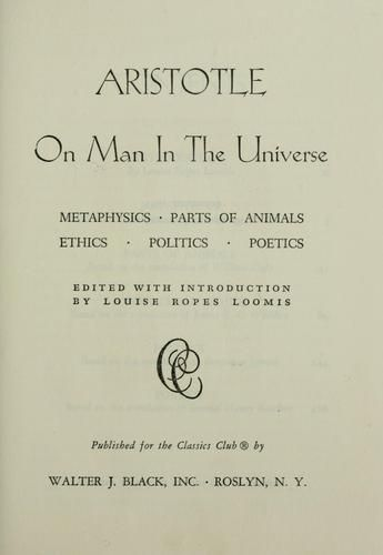 On Man In The Universe - Aristotle