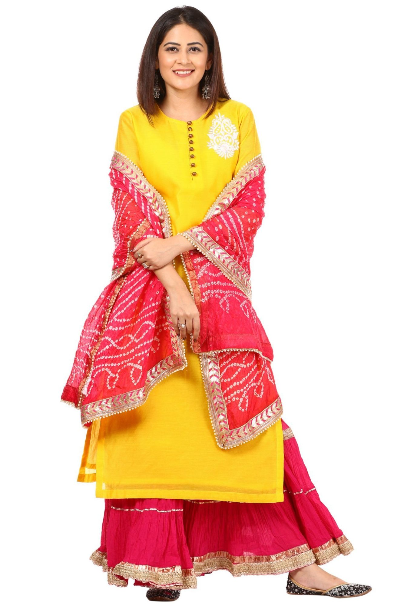 a47fcd56e3 Indian Attire · Bandhej Suits, Ladies Suits, Suits For Women, Sharara Suit, Salwar  Kameez,