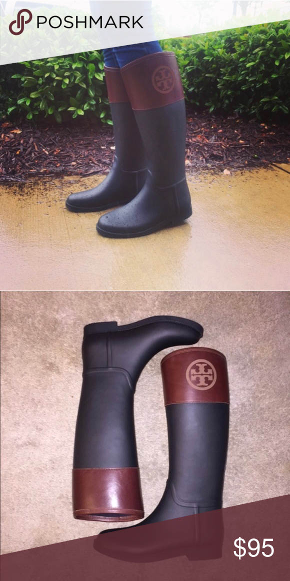 cf0a04bc9a55 Tory Birch classic Diana rain boot rubber leather Black rubber