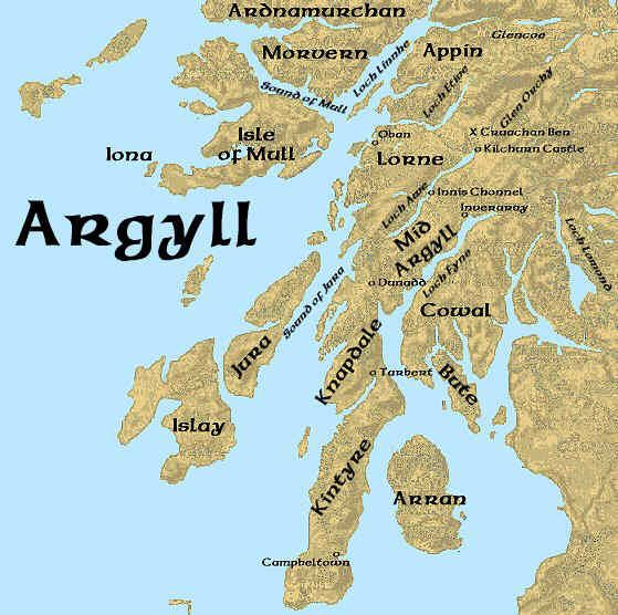 Image result for Argyll, Scotland map