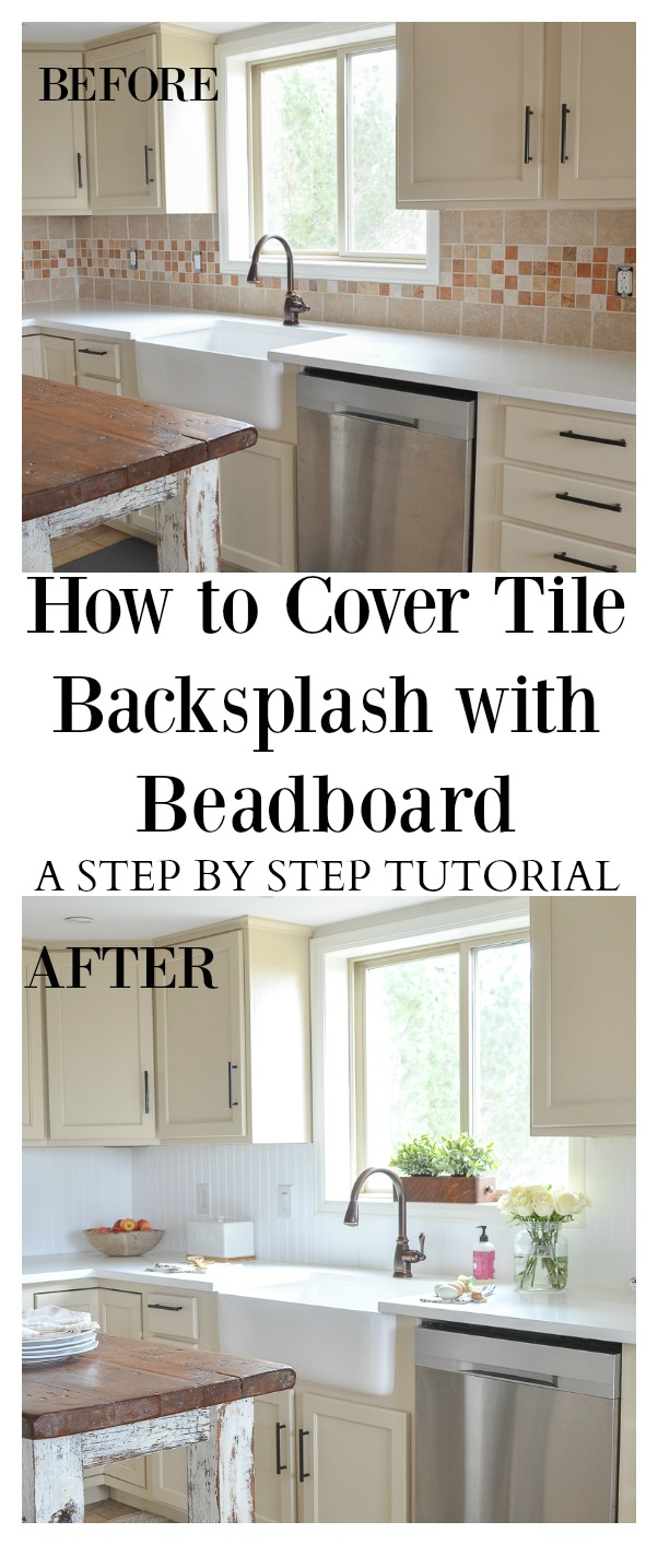 How to Cover Tile Backsplash with Beadboard   Cheap ...