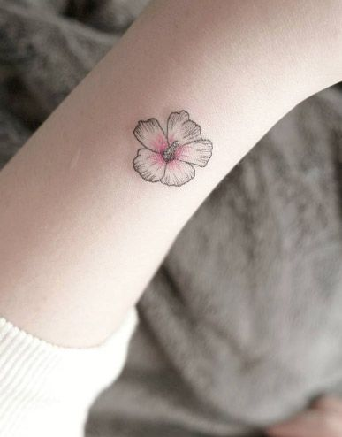 Small Flower Blossom By Chaehwa Placement Hybiscus Tattoo
