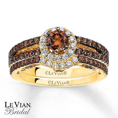 Levian Chocolate Diamonds 1 3 Ct Tw Bridal Set 14k Gold Wedding Ring