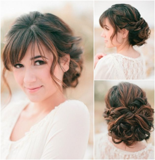 Wedding Hairstyle Bangs: Put Curled Hair Into A Loose, Low Bun
