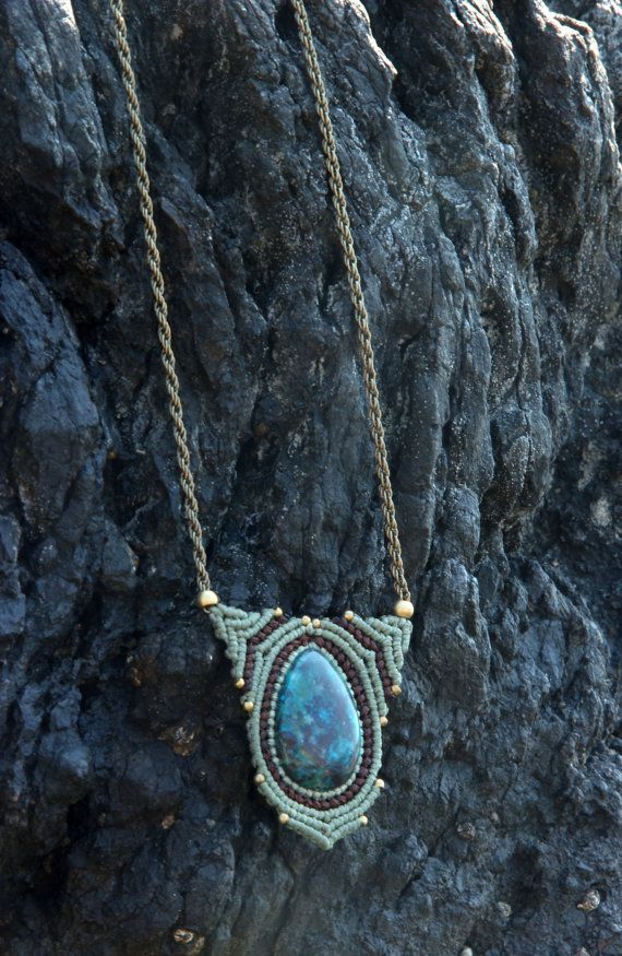 macrame necklace with chrysicolla by Rommymacrame on Etsy, $75.00