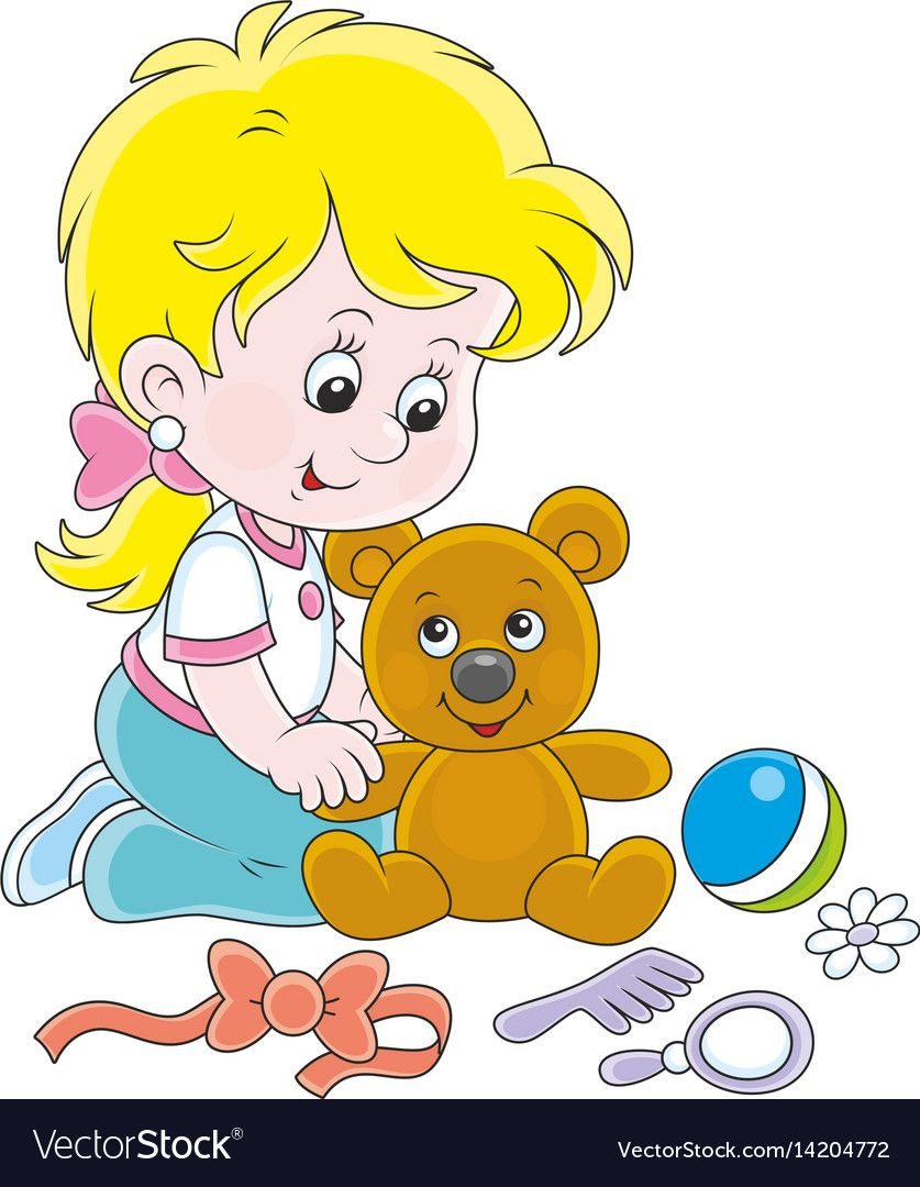 Little girl and teddy bear vector image on