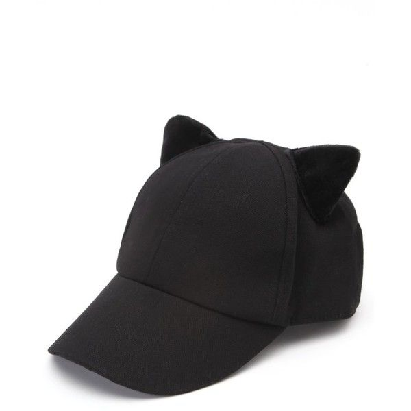 black cat ear baseball cap hat featuring accessories ebay