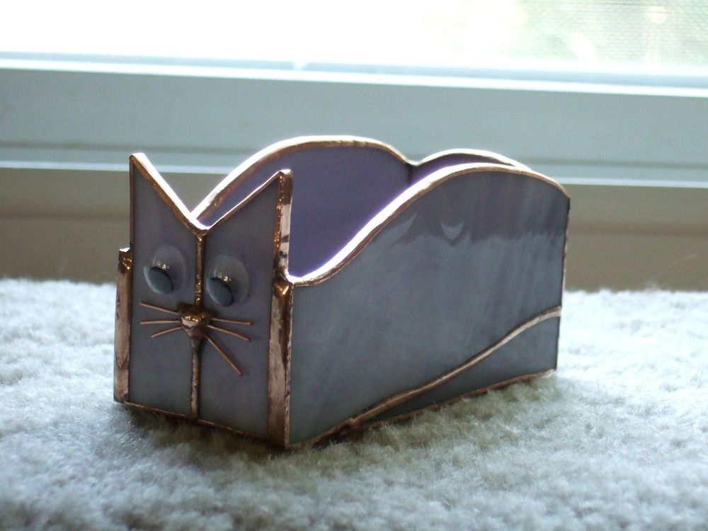 Handmade Stained Glass BOX (Business Card Holder) CAT (BXC32 ...