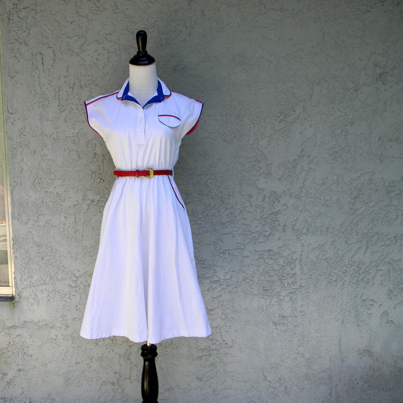Vintage 70s 80s Summer Sailor Dress Vintage 70s 80s Red White Blue Tennis Waitress Nurse Mod Diner Summer Dress Size 4 Small S Sailor Dress Vintage Outfit Fall Vintage Outfits [ 1500 x 1500 Pixel ]