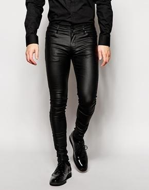 Vaqueros Superpitillo Extremos De Efecto Cuero De Asos Ropa Moderna Hombre Pantalones De Hombre Moda Moda Ropa Hombre