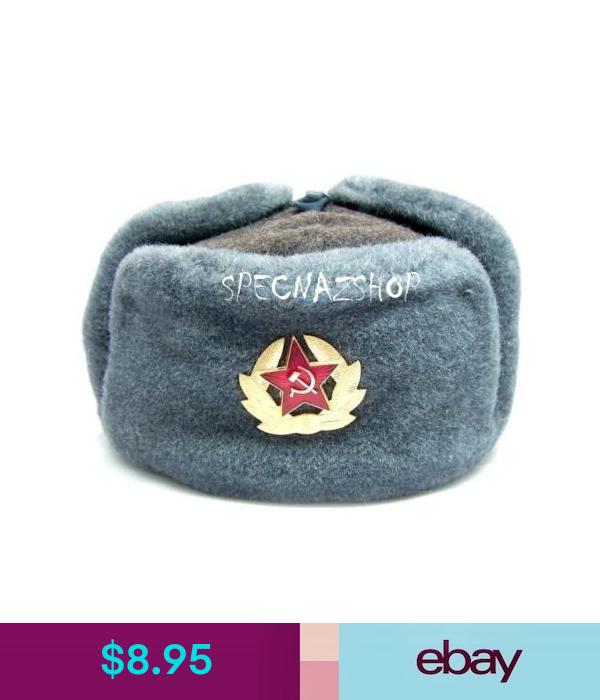 Genuine Soviet Army Ussr Soldiers Russian Soviet Union Ushanka Hat With Cockade Army Hat Ushanka Hats