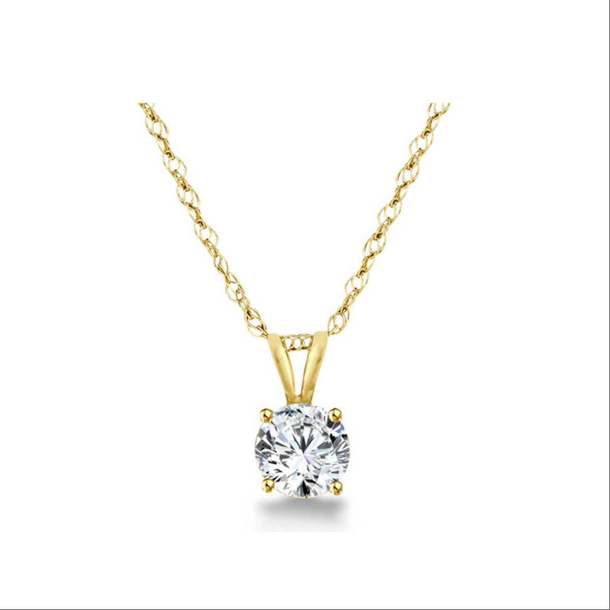 Round brilliant diamond solitaire pendant necklace in k gold gsi