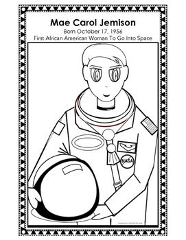Mae jemison coloring sheet and poster african american for Mae jemison coloring page