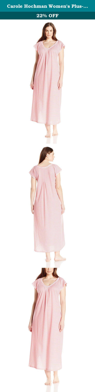 Carole Hochman Women\'s Plus-Size Cotton Long Gown, Fresh Stripe, 1X ...