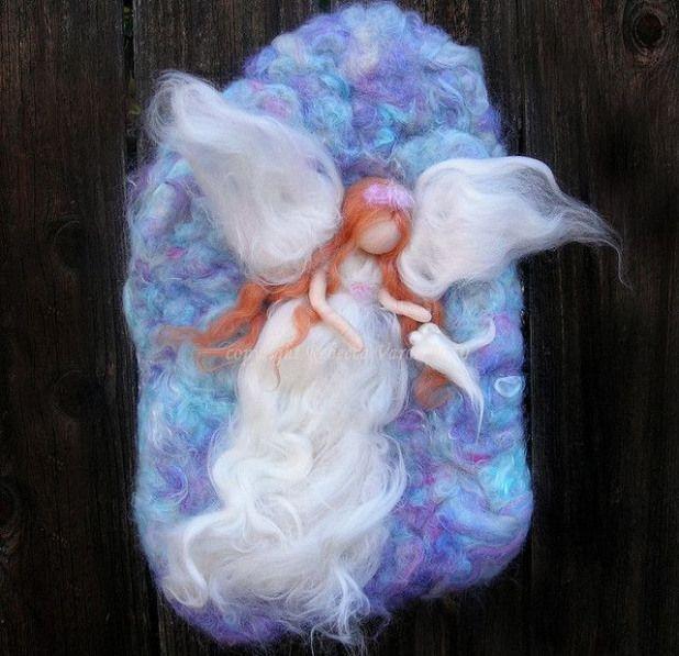 Needle felted fiber art wool painting wall hanging angel violet dove Ascension with wm 1 by Nushkie Design via Flickr #fiberart #fiber #art #tutorial