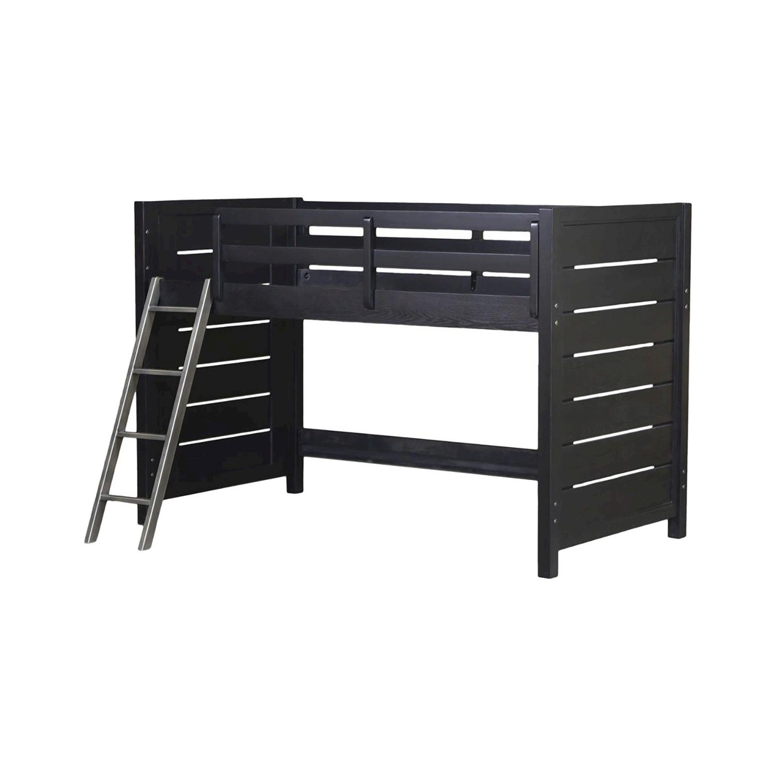 Gray loft bed with desk  Graphite Collection Mid Height Loft Bed Kit ends rails ladder
