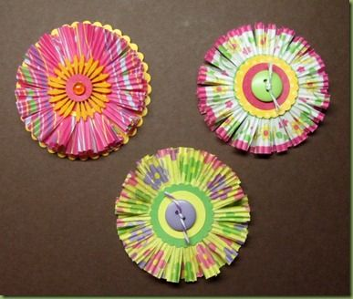 cup cake liner flowers for scrapping or use straw instead of button for drink topper
