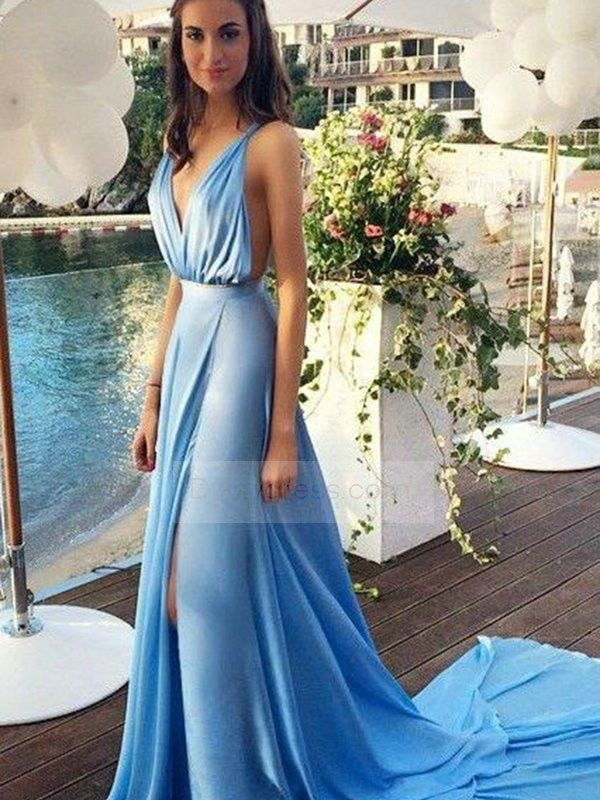 344e3efe9d Sky Blue Deep V Neck Side Split Backless Chiffon Prom Dress Itempd0044