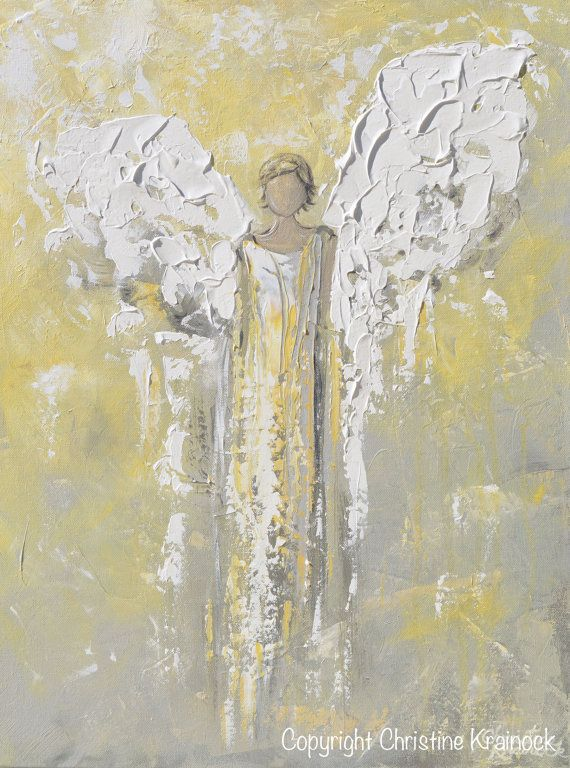 Giclee print art abstract angel oil painting yellow grey for Angel paintings for sale