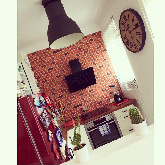 Kitchen / modern / brick / red / Ikea / love it