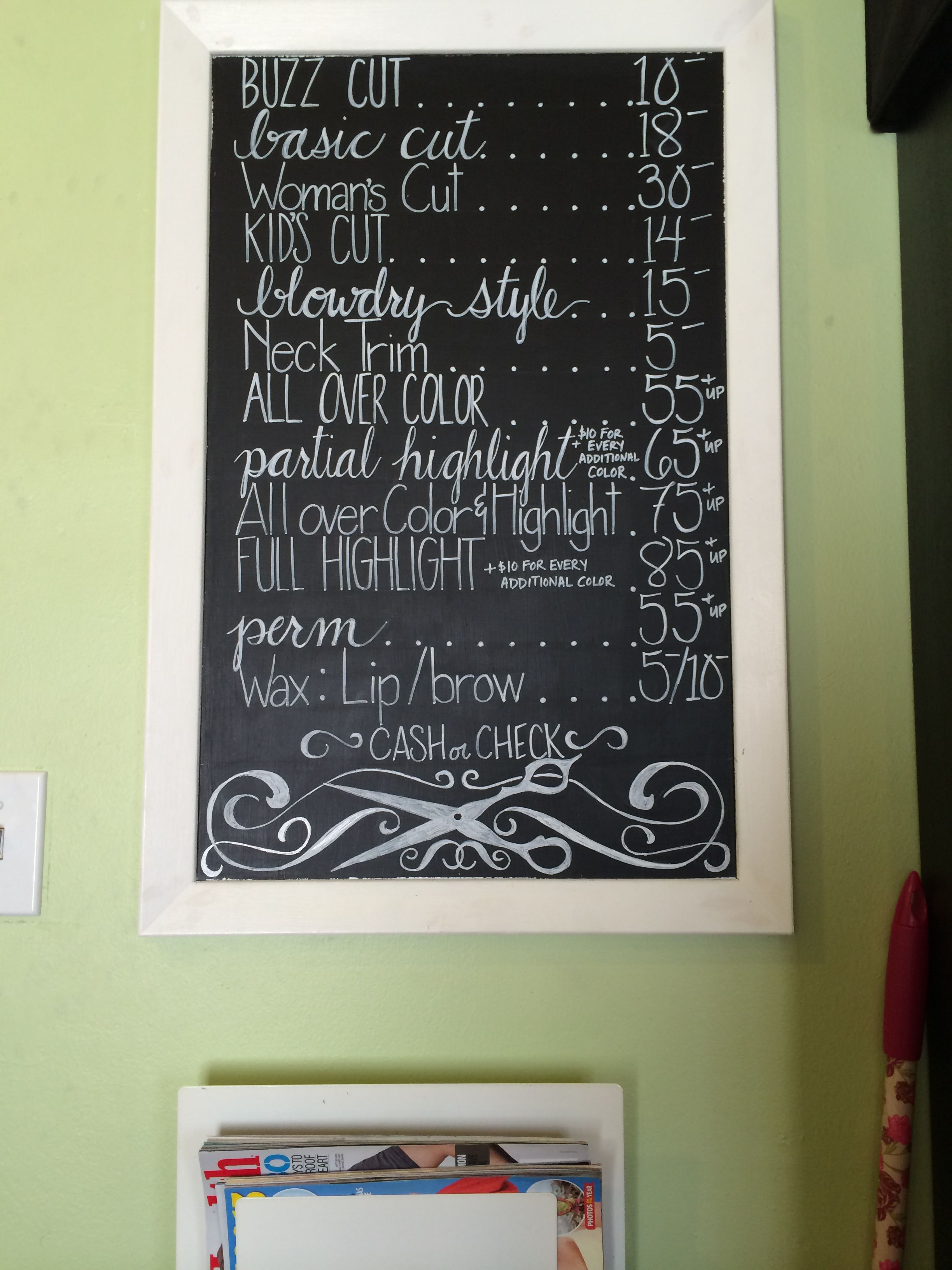 Hair Salon Chalkboard Price Sign Chico Chalk And