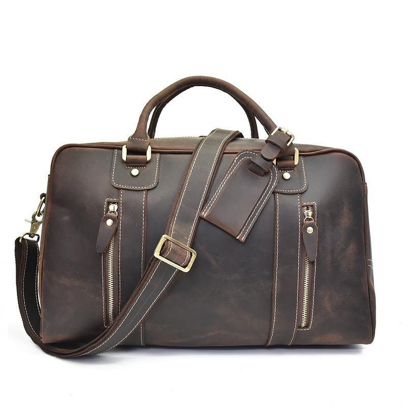 ... Genuine Leather Mens Cool Weekender Bag Travel Bag Duffle Bags  Overnight Bag Holdall Bag for men ... 20f6f2854a