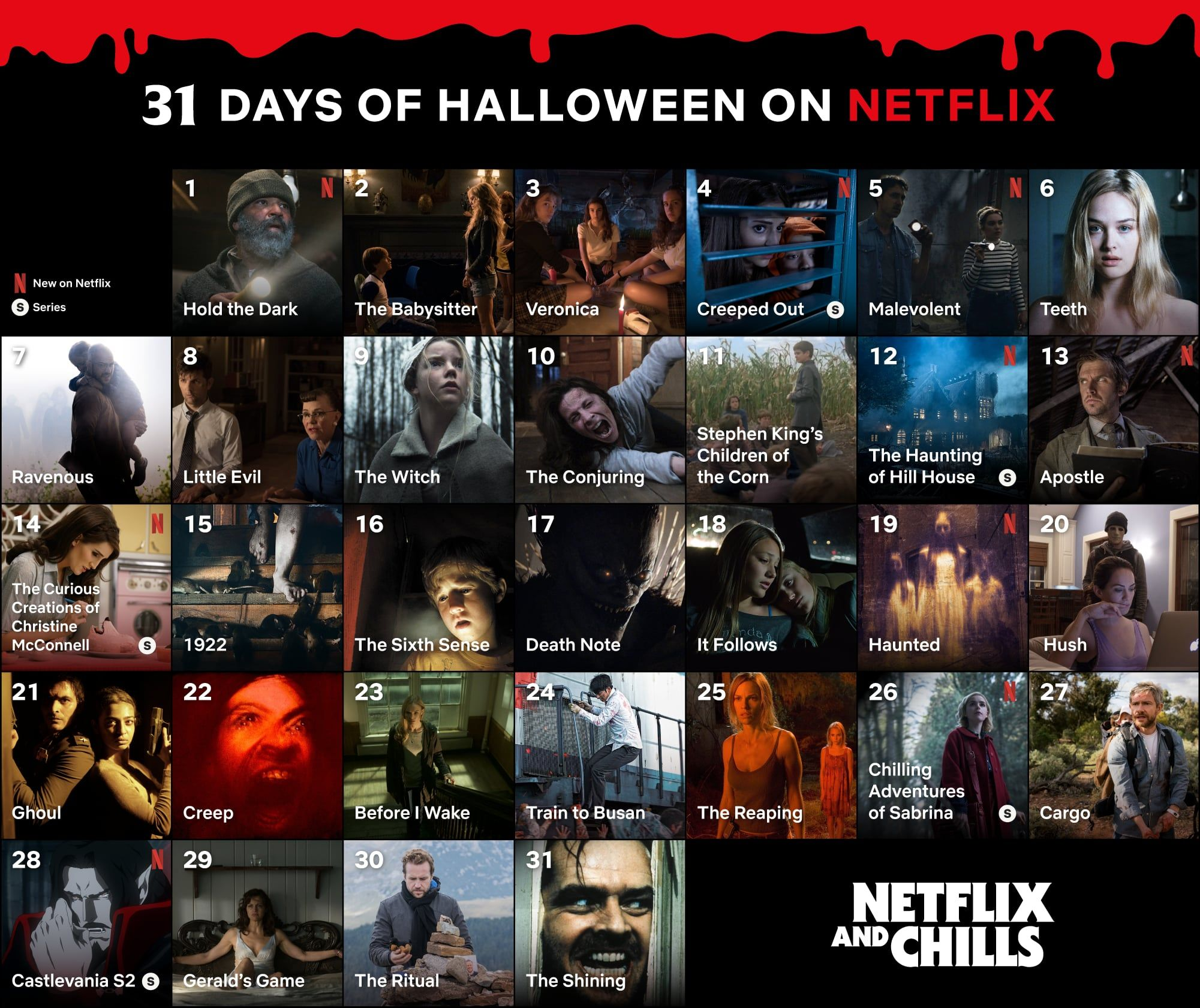 31 Spooky Movies And Tv Shows You Can Stream On Netflix Each Night Of October Halloween Calendar Spooky Movies 31 Days Of Halloween
