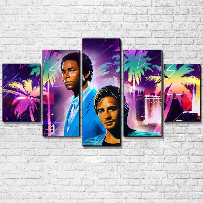 Tubbs And Crockett 5 Piece Canvas Set Canvas Picture Walls Retro Painting Canvas Pictures
