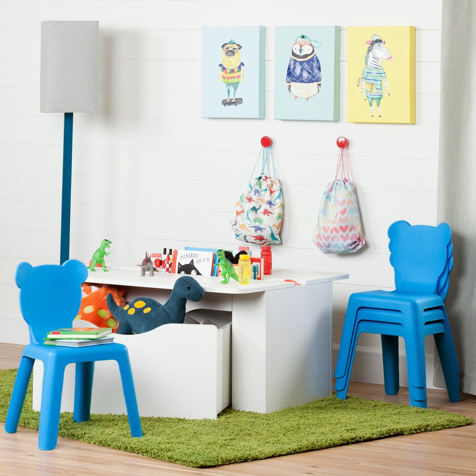 Crea Kids Activity Table and 4 Plastic Chairs Set by South ...