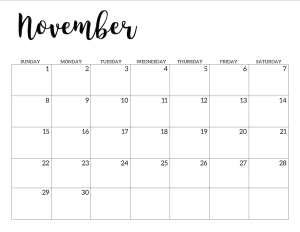 The Best Free Printable Nov 2020 Calendar With Holidays Wallpapers