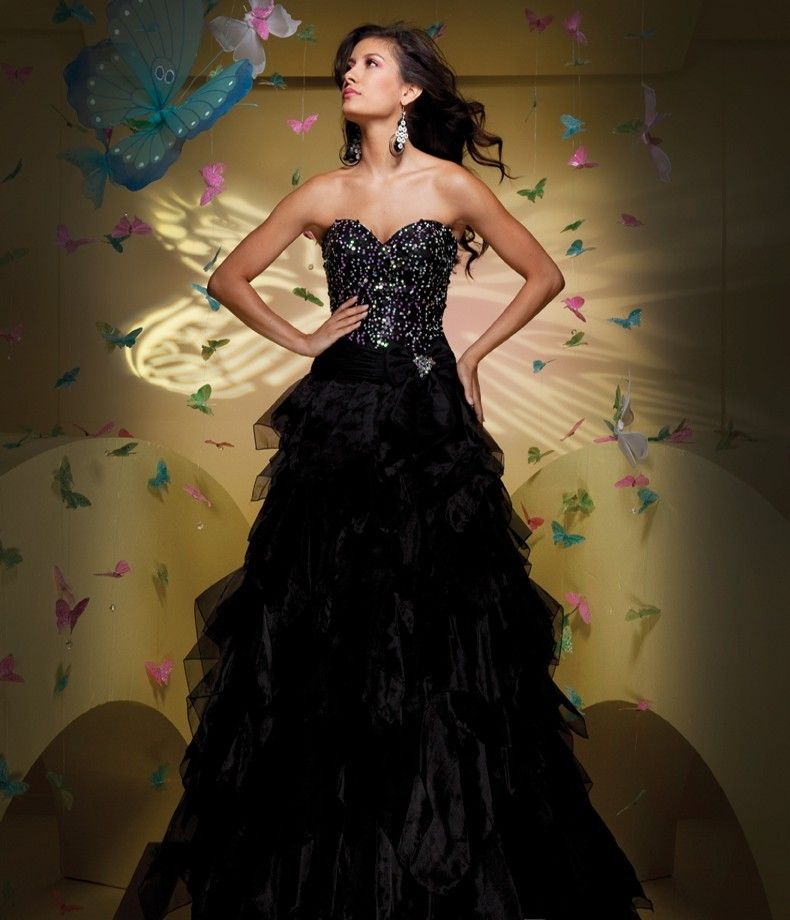 Black Sweetheart Sequined Satin Organza Prom Dress $223.99 Prom Dresses