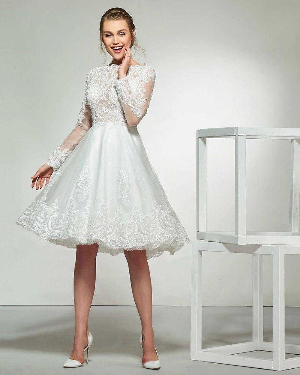 Aline #bridal #D17 #Dress #ivory #knee #length #unusual wedding