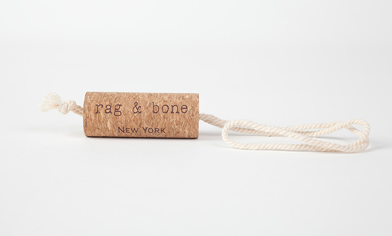 RAG & BONE  hangtag using cork
