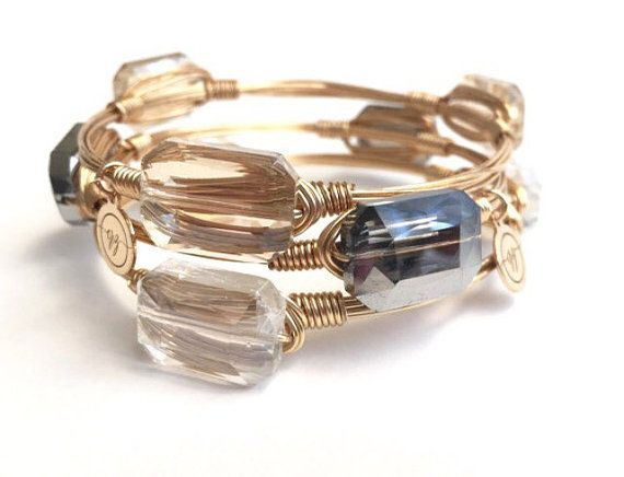 XSmall Champagne, Silver, or Clear Crystal Wire Bangle, Bangles, Bracelets, Wire Bangles, Bourbon and Boweties Inspired