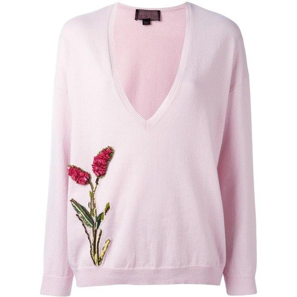 Giambattista Valli flower embellished V-neck jumper (2,510 CAD) ❤ liked on Polyvore featuring tops, sweaters, flower jumper, pink jumper, embellished tops, v neck jumper and flower top