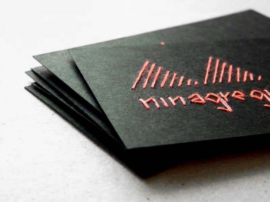 Embroidered Business Cards And Artwork By Nina Gregier Handmade Business Cards Fashion Business Cards Business Cards Creative