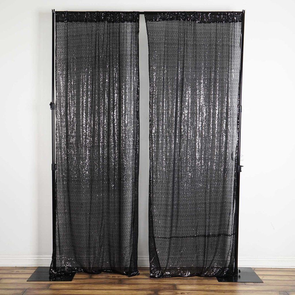 2 Pack 9ft Black Sequin Backdrops Curtain Panel With Rod