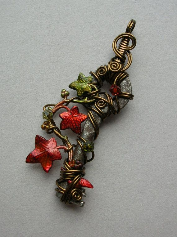Small Ivy Vine Autumn Wire Wrapped Key by silverowlcreations