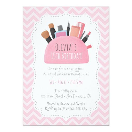 Pink Makeup Pouch Girls Birthday Party Invitations   Zazzle.com -   15 makeup Party kids ideas