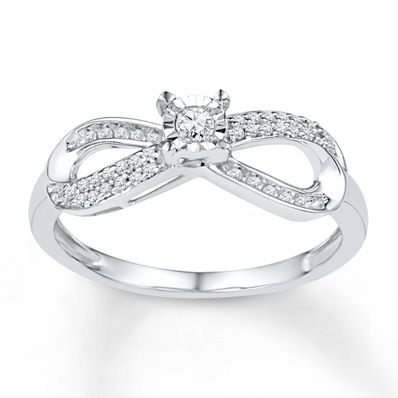 Promise ring! It's perfect <3  Diamond Promise Ring 1/5 ct tw Round-cut Sterling Silver