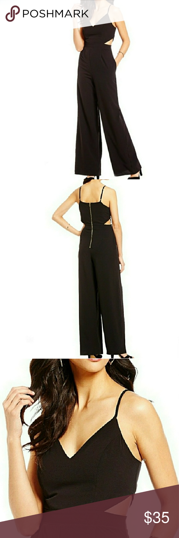 5bfc5480434 NWT GIANNI BINI WIDE LEG JUMPSUIT BLACK Boutique