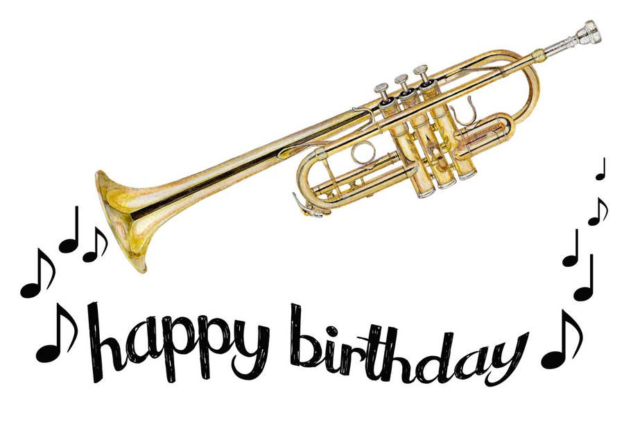 Trumpet Happy Birthday Card